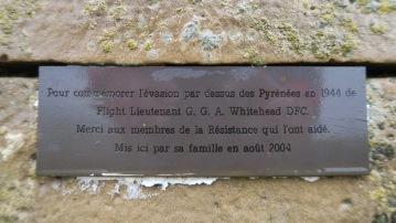 Plaque en mémoire du Lt. Whitehead