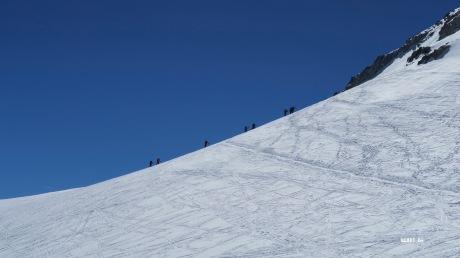Avant de quitter les skis à la punta Oliveras