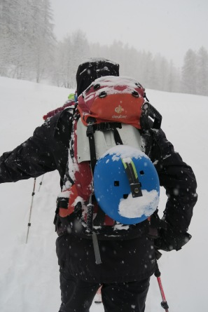 le sac d'Olivier fait le plein de neige