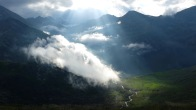 J 12 – arrivée en Ariège : magnifique soleil couchant au refuge de Rhule